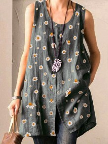 Grey Small Daisy Pattern Front Slit Round Neck Sleeveless Cute Blouse