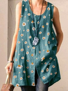 Blue Small Daisy Pattern Front Slit Round Neck Sleeveless Cute Blouse