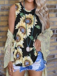 Black Sunflowers Pattern Draped Peplum Sleeveless Bohemian Vest