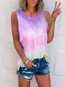 Purple Tie Dye Color Block Gradient Print Round Neck Sleeveless Fashion Vest