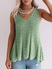 Green Patchwork Cut Out Knitwear Ttrendy V-neck Fashion Vest