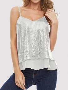 White Patchwork Sequin Grenadine V-neck Sleeveless Fashion Vest