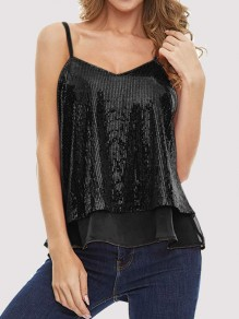 Black Patchwork Sequin Grenadine V-neck Sleeveless Fashion Vest