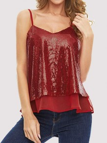 Burgundy Patchwork Sequin Grenadine V-neck Sleeveless Fashion Vest