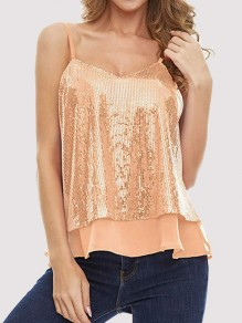 Orange Patchwork Sequin Grenadine V-neck Sleeveless Fashion Vest