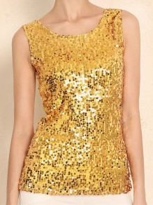 Golden Sequin Glitter Sparkly Round Neck Sleeveless Fashion Vest