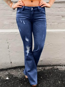 Dark Blue Cut Out Distressed Ripped Pockets Denim Bell Bottomed Flares Bootcut Long Jean