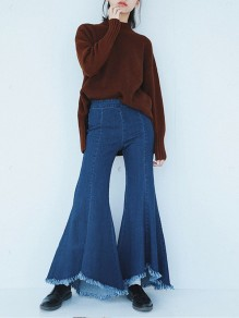 Navy Blue Pleated Irregular High-Low Denim High Waisted Bell Bottomed Flares Long Jean