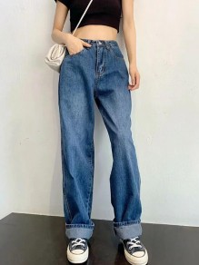 Dark Blue Pockets High Waisted Boyfriend Style Mom Vintage Wide Leg Long Jeans