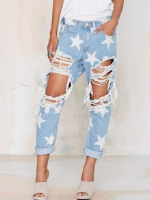 Light Blue Star Print Ripped Destroyed Boyfriend Style Haren Mom Vintage Long Jeans