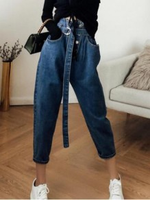 Dark Blue Single Breasted High Waisted Hippie Baggy Boyfriend Mom Vintage Long Jeans