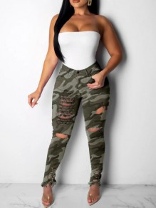 Army Green Camouflage Cut Out Pockets High Waisted Ripped Destroyed Casual Long Jeans
