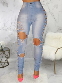 Light Blue Cut Out Ripped Destroyed High Waisted Mom Distressed Long Jeans