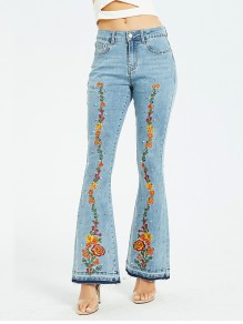 White Embroidery Pockets Denim Bell Bottomed Flares High Waisted Long Jean
