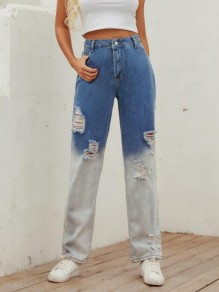Blue-White Patchwork Distressed Ripped Destroyed Distressed Boyfriend Mom Style High Waisted Long Jeans