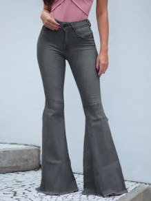 Grey Draped Pockets Ripped Distressed Side Slit Flare Bell Bottom Vintage Long Jeans
