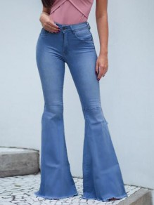 Blue Draped Pockets Ripped Distressed Side Slit Flare Bell Bottom Vintage Long Jeans
