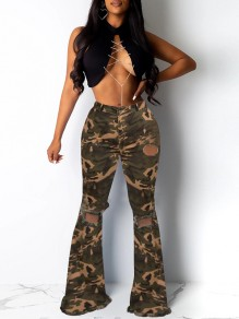 Green Camouflage Print Knee Ripped High Waisted Flare Bell Bottom Long Jeans