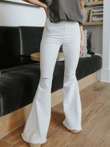 White Zipper Pockets Ripped Destroyed Tassel High Waist Slim Long Flare Bell Bottom Jeans
