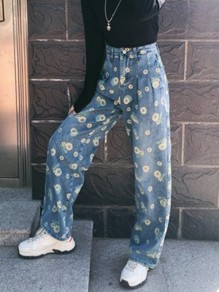 Blue Floral Daisy Print Sunflower Pockets High Waisted Fashion Boyfriend Wide Leg Jeans