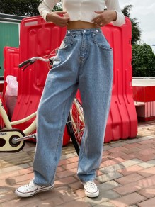 Blue Patchwork Pockets High Waisted Fashion Boyfriend Straight Jeans