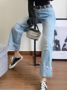 Blue Patchwork Pockets Distressed Wide Leg High Waisted Fashion Jeans Pants