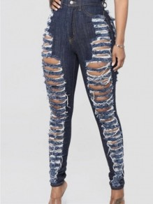 Dark Blue Cut Out Distressed Ripped Pockets Denim High Waisted Long Jean
