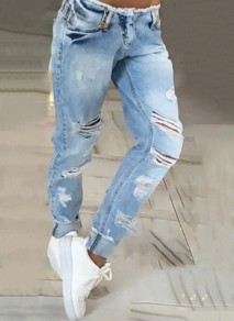 Blue Patchwork Ripped Destroyed Frayed Pocket Low-rise Straight Fashion Streetwear Jeans Pants