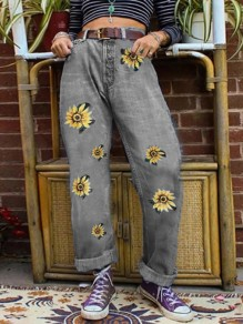 Grey Floral Sunflower Print High Waisted Fashion Boyfriend Jeans Pants