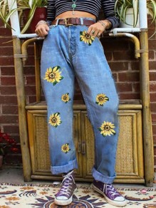 Light Blue Floral Sunflower Print High Waisted Fashion Boyfriend Jeans Pants