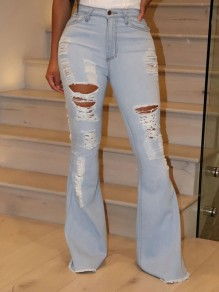 Light Blue Cut Out Distressed Ripped Pockets Denim High Waisted Bell Bottomed Flares Long Jean