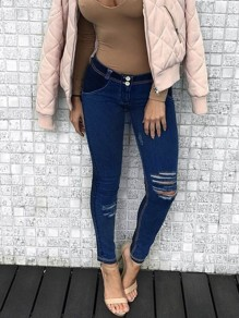 Blue Patchwork Destroyed High Waisted Fashion Jeans