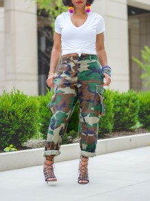 Camouflage Pockets High Waisted Harem Casual Denim Long Jean