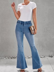 Light Blue Pockets Cut Out Distressed Ripped High Waisted Denim Bell Bottomed Flares Casual Long Jean