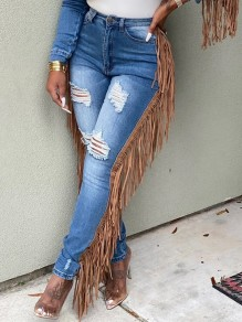 Light Blue Cut Out Distressed Ripped Pockets Tassel Denim High Waisted Casual Long Jean