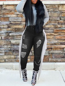 Black Patchwork Tassel Pockets Buttons Ripped Destroyed High Waisted Cow Long Jeans