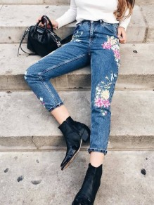 Blue Patchwork Embroidery Slim Vintage High Waisted Denim Jean Pant