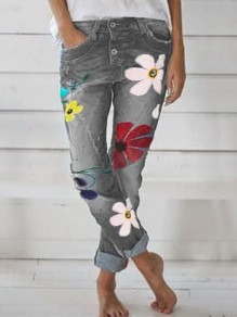 Grey Flowers Print Pockets Buttons High Waisted Washed-out Fashion Casual Denim Long Jeans