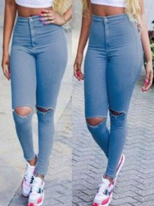 Jeans long poches boutons taille haute bleu clair