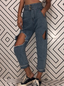 Blue Pockets Buttons Cut Out Ripped High Waisted Mom Jeans