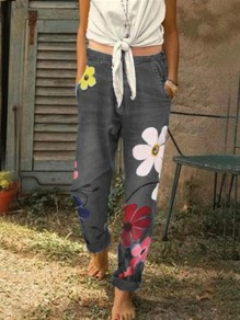Black Flowers Print Pockets Mid-rise Fashion Loose Long Jeans