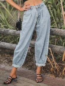 Light Blue Pockets Buttons High Waisted Loose Long Jeans