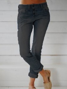 Black Pockets Buttons High Waisted Fashion Long Jeans