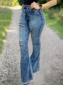 Blue Cut Out Buttons Pockets High Waist Flare Long Jeans