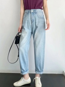 Jeans longs poches boutons taille haute mode oversize bleu clair