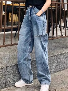 Dark Blue Cut Out Ripped Pockets Buttons High Waist Loose Baggy Boyfriend Long Jeans