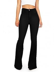 Black Pockets Buttons High Waisted Flare Bell Bottom Slim Big Booty Vintage Long Jeans Pants