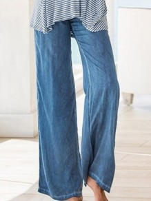 Blue Oversize High Waisted Fashion Wide Leg Plus Size Pajamas Denim Long Jeans