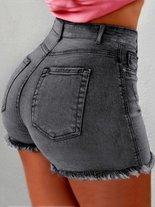 Grey Pockets Buttons High Waisted Fashion Short Jeans
