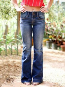 Dark Blue Pockets Distressed Flare Bell Bottom Long Jeans